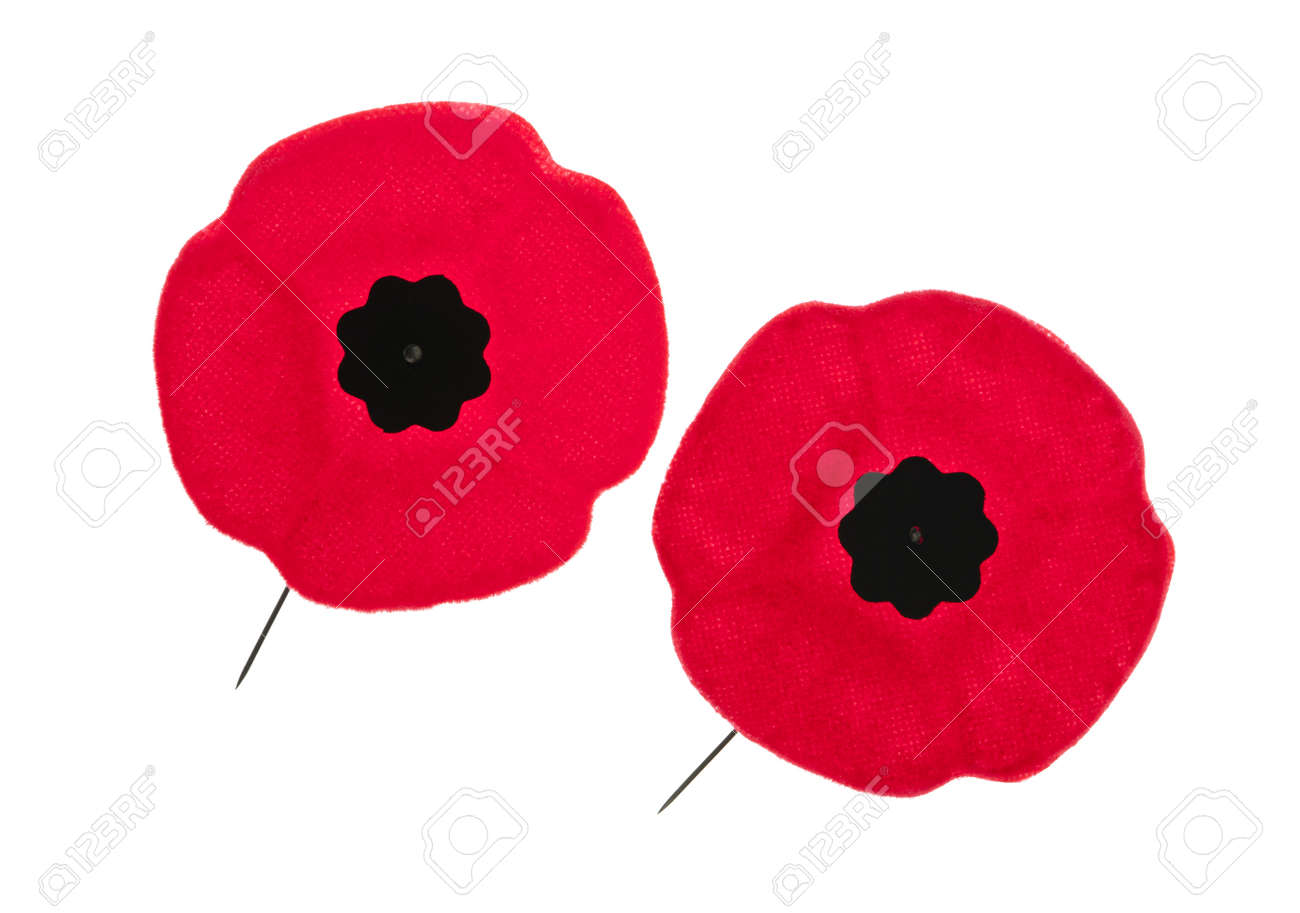 Two red poppy lapel pins for Remembrance Day