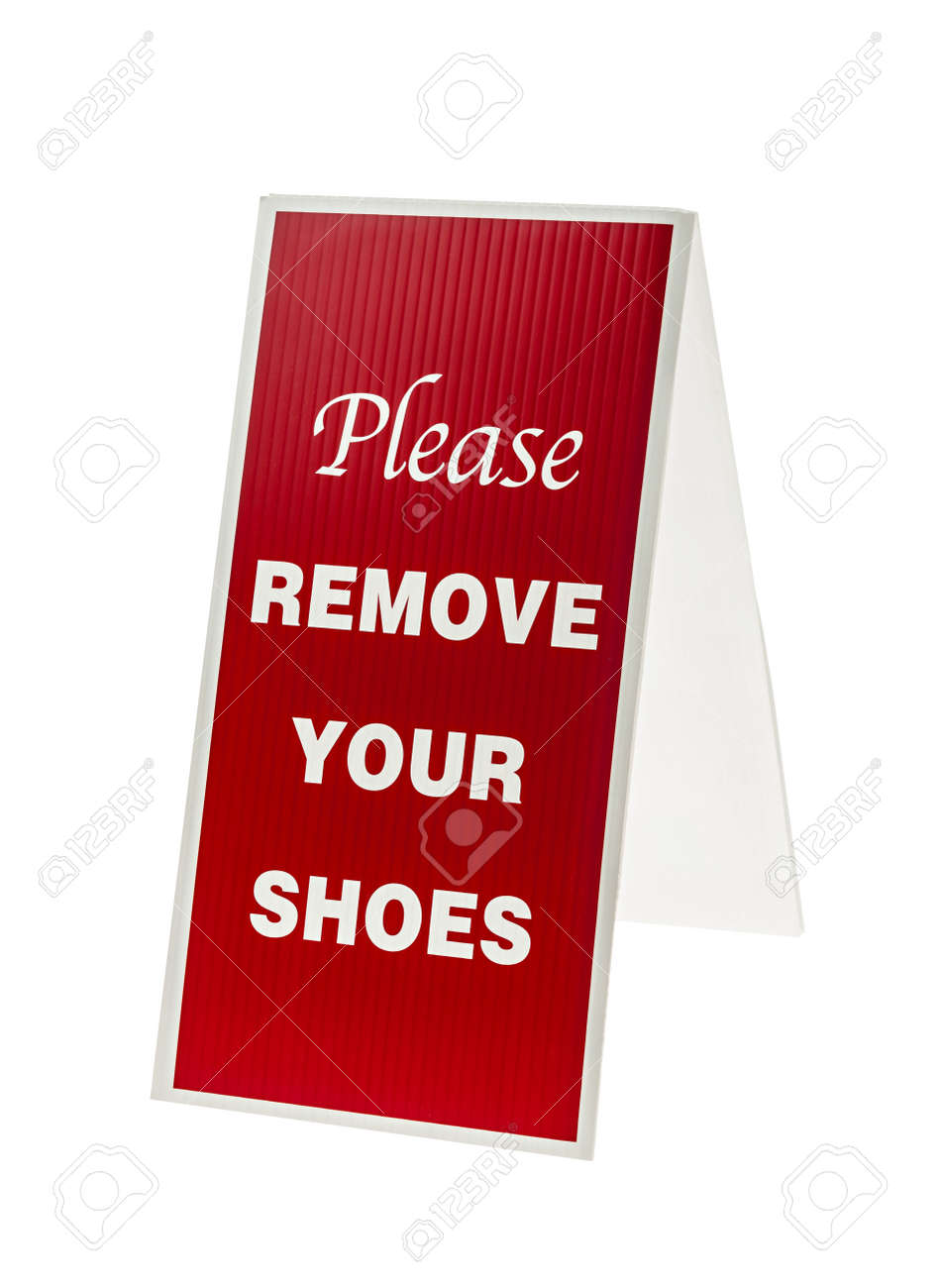 picture about Please Remove Your Shoes Sign Printable Free referred to as Pink and white signal proclaiming Make sure you Clear away Your Sneakers isolated