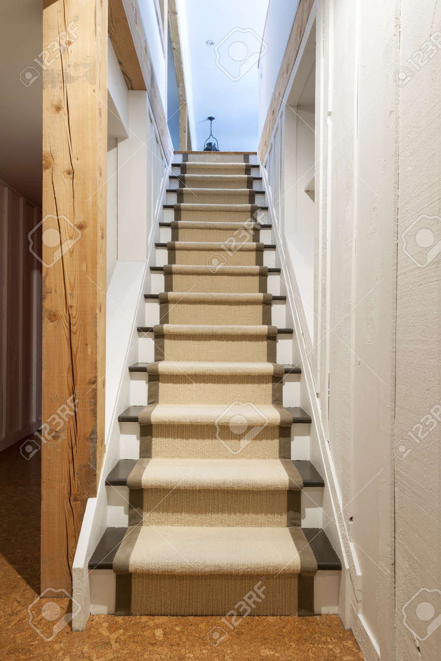 Stairway to basement in home interior with wood paneling Stock Photo - 19341224 & Stairway To Basement In Home Interior With Wood Paneling Stock Photo ...