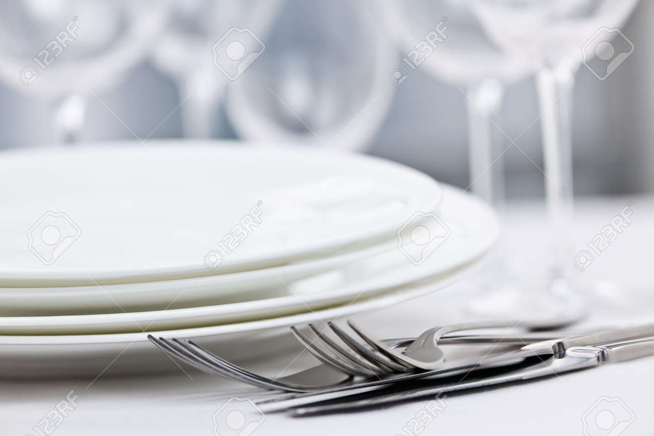 Fancy restaurant table setting - Fine Dining Elegant Restaurant Table Setting For Fine Dining With Plates Cutlery And Stemware