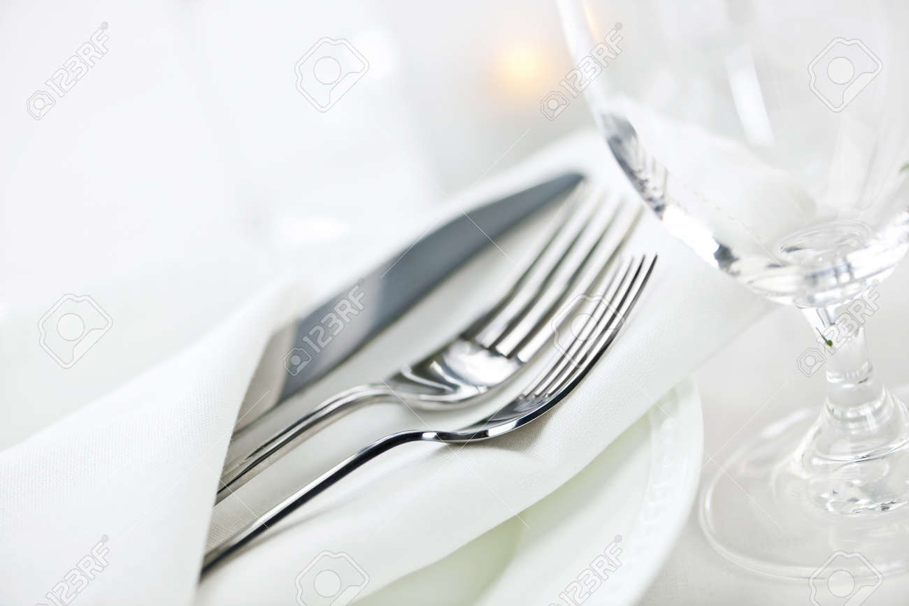 Elegant restaurant table setting for fine dining with plates cutlery and stemware Stock Photo - 22084992 & Elegant Restaurant Table Setting For Fine Dining With Plates.. Stock ...