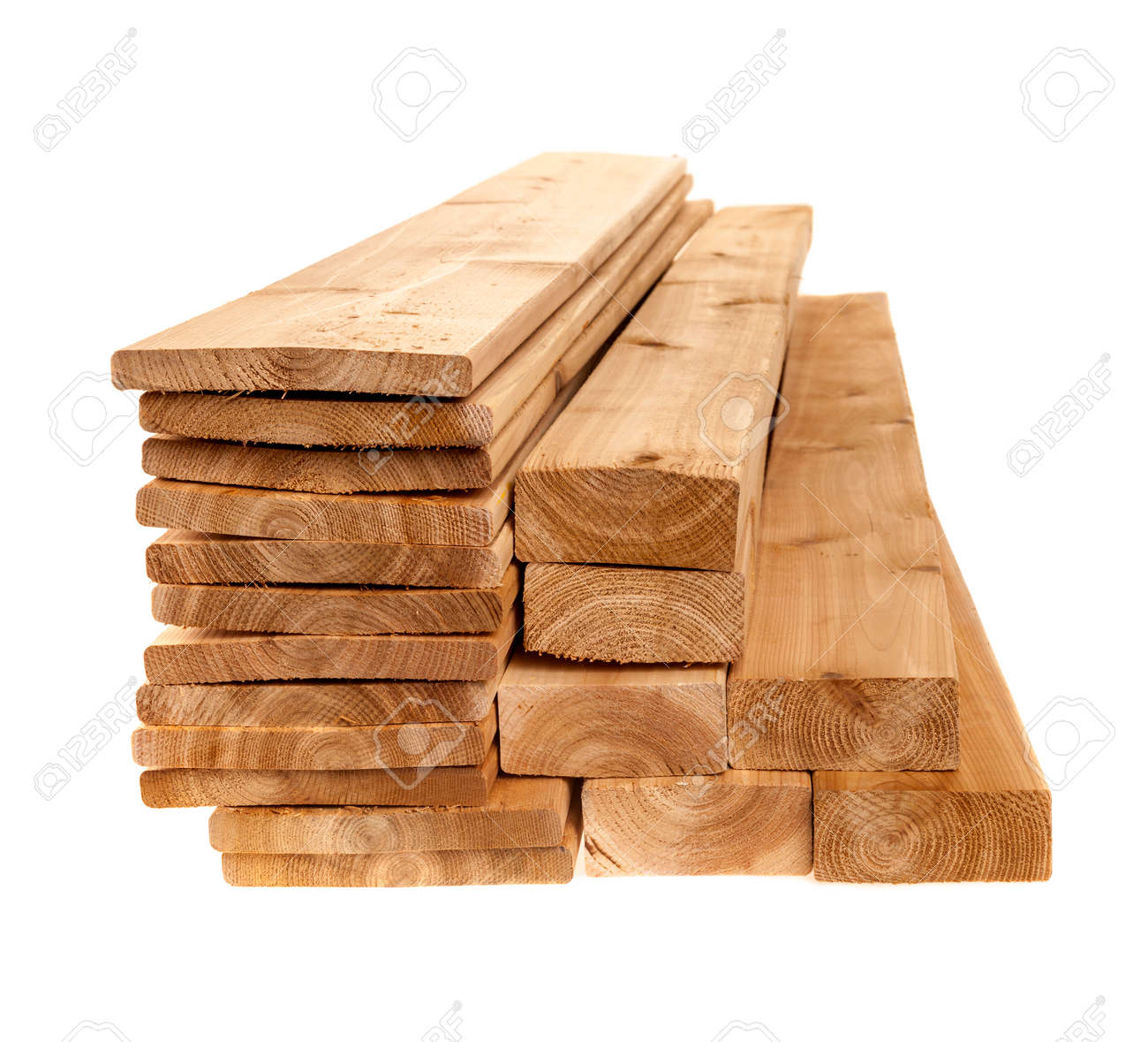 Various sizes of wooden cedar boards isolated on white background - 29611425