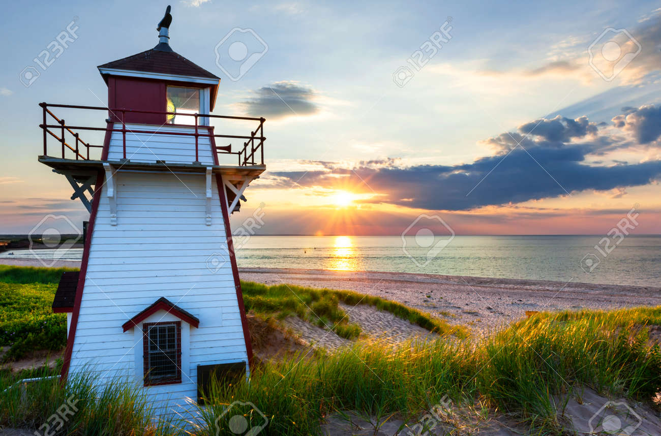 Beautiful sunset at Covehead Harbour lighthouse, Prince Edward Island, Canada Stock Photo - 31485903