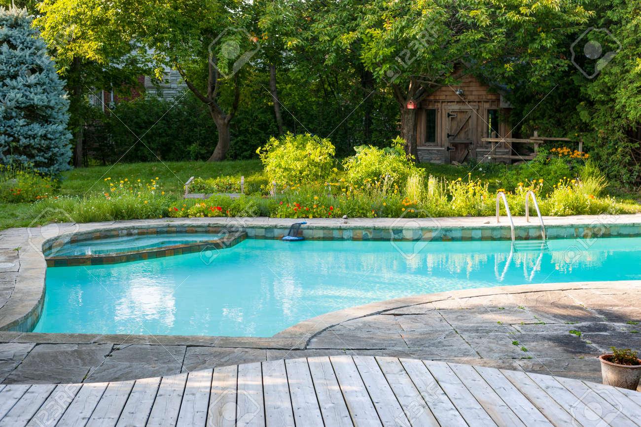 Jardin Sur Une Terrasse backyard avec creusée extérieure piscine résidentielle, jardin, terrasse et  patio en pierre