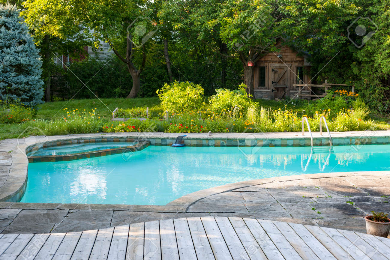 Backyard with outdoor inground residential swimming pool, garden, deck and stone patio Stock Photo - 33879225