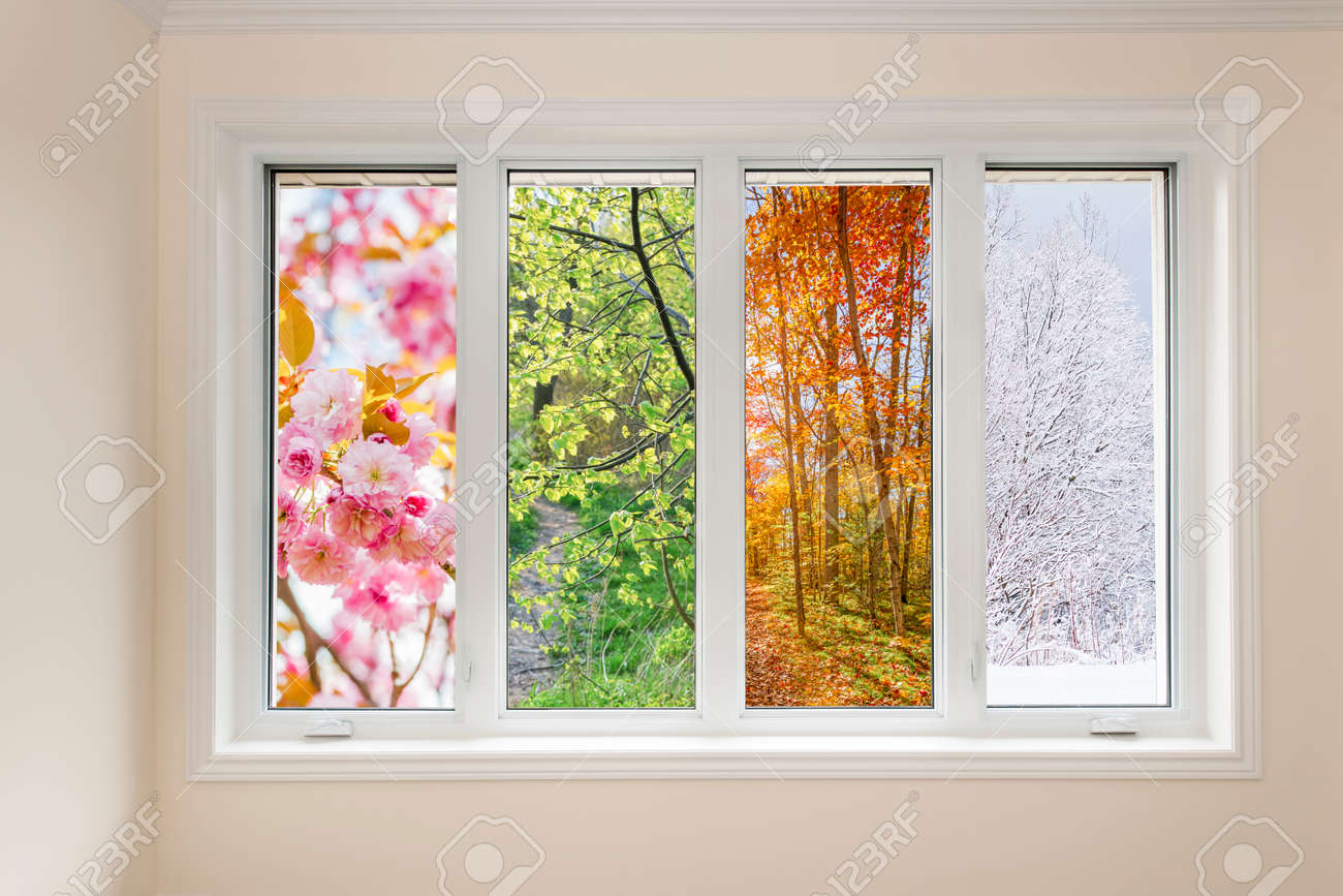 Window in home interior with view of four seasons Stock Photo - 34154494