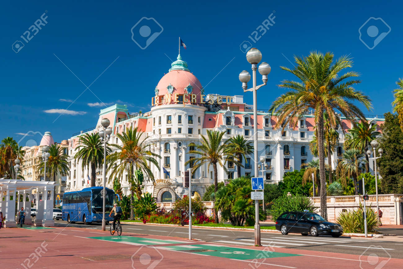 NICE, FRANCE - OCTOBER 2, 2014: Hotel Negresco on the English promenade (Promenade des Anglais) is one of the famous landmarks of the city. - 37990292