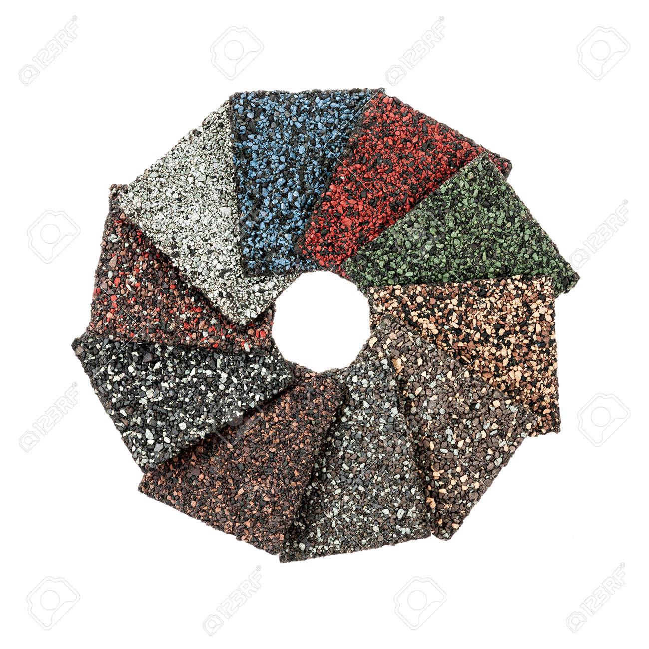 Dachmaterial Asphalt Schindeln Proben Verschiedener Farben Isoliert