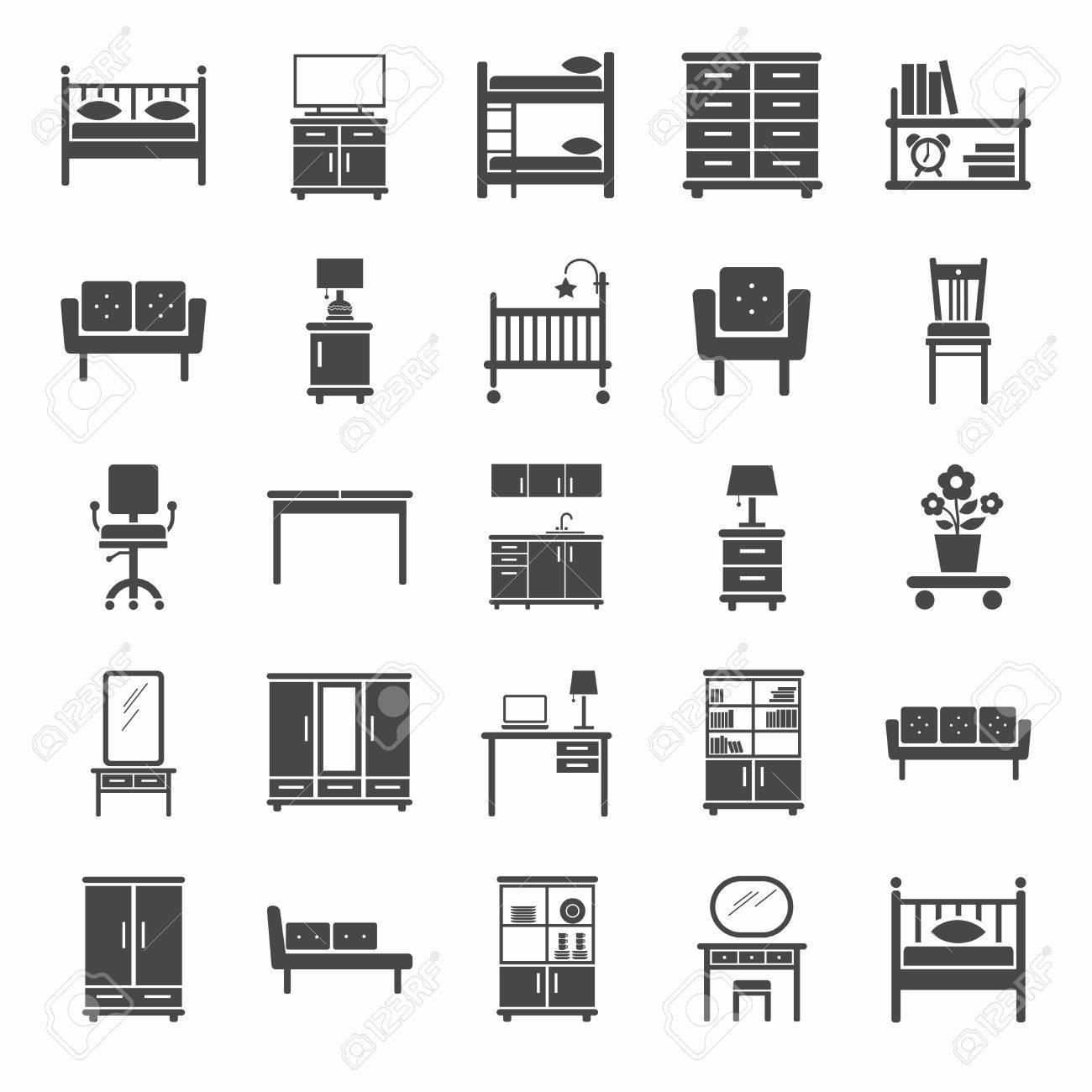 muebles iconos blanco y negro iconos de vector de muebles modernos para el
