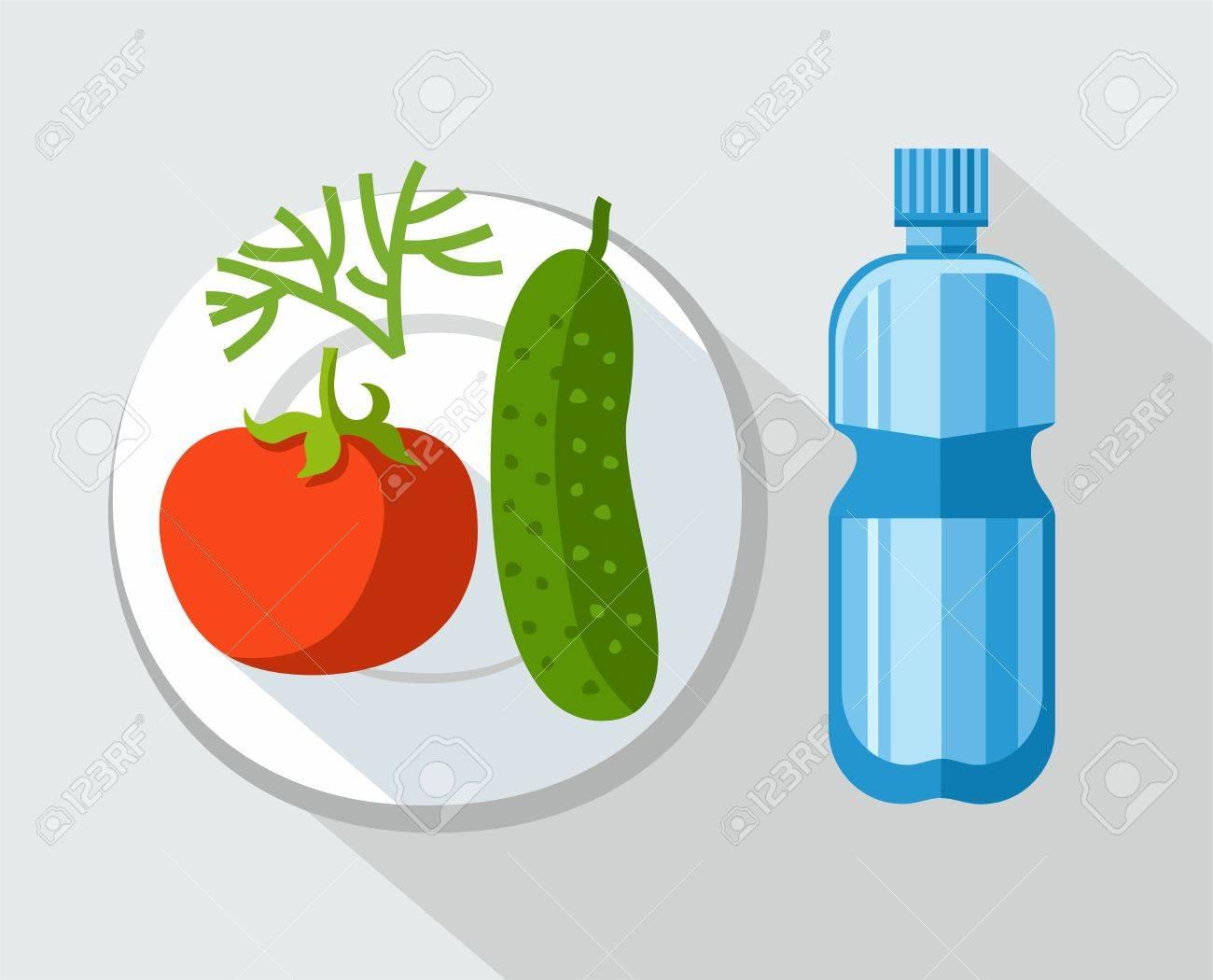 Cibo sano verdure acqua illustrazione a colori su un tavolo