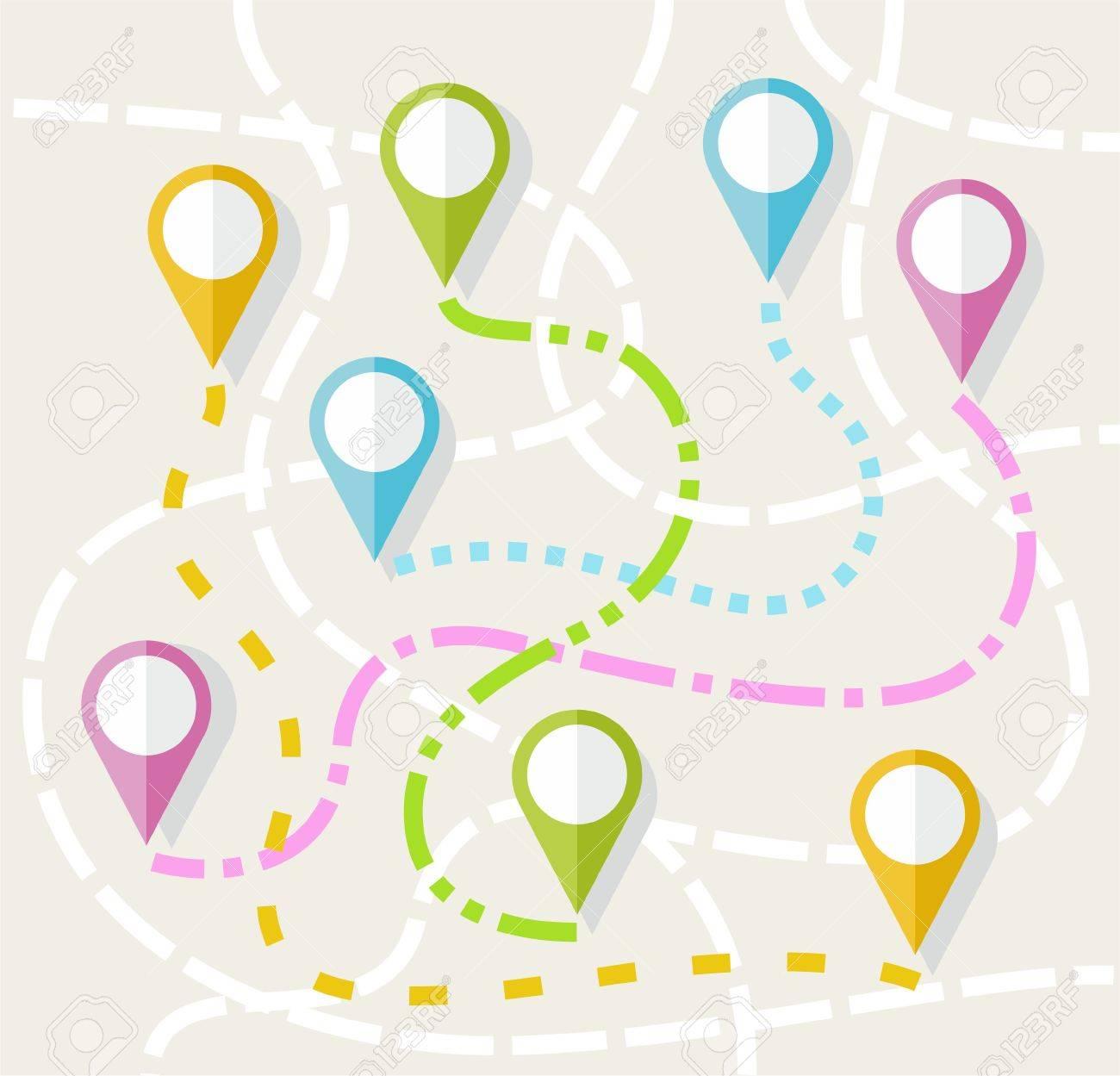 Mapa Ruta La Direccion La Ruta La Navegacion El Color Plana