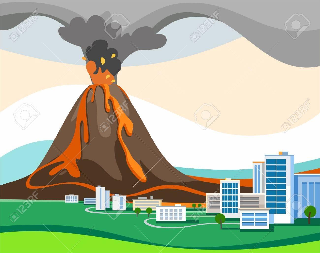 L éruption Du Volcan Image Couleur Vecteur D Un Volcan Est
