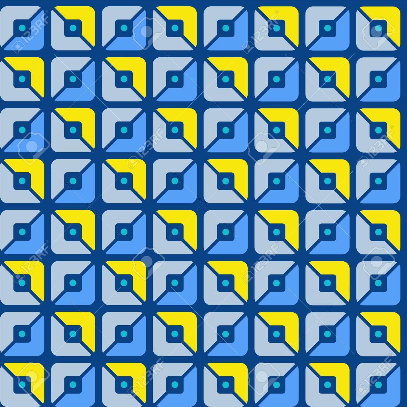 Modelo Inconsútil Geométrico Cuadrados Azul Amarillo Mitades Fondo Coloreado Plano Patrón De Mitades Cuadrados Azules Y Amarillos En Un Fondo
