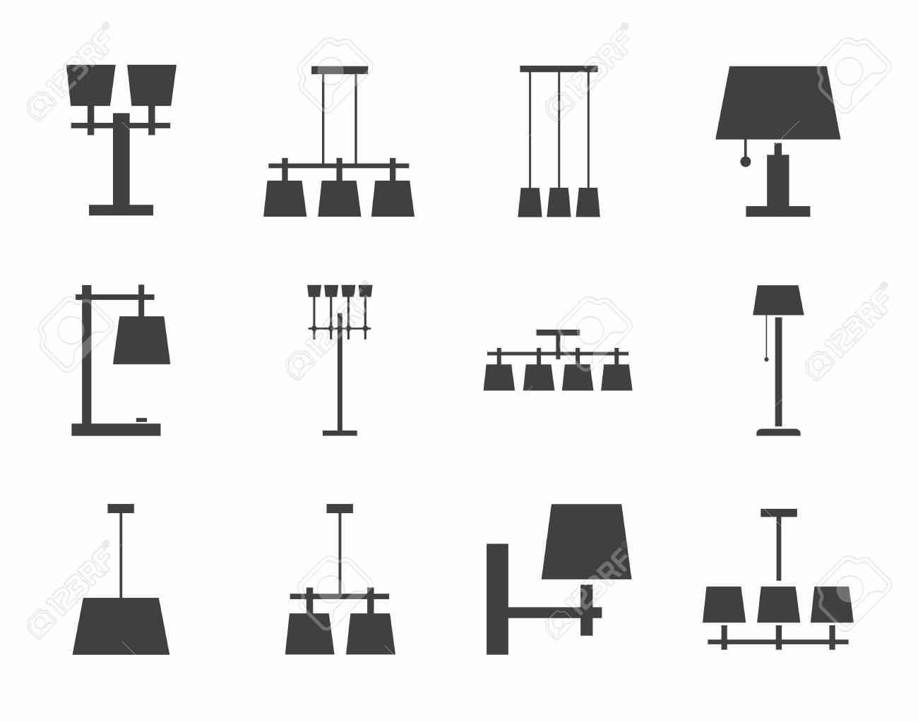 Lamps Ceiling, Table, Outdoor, Single Color Icons. Vector Image Of Different
