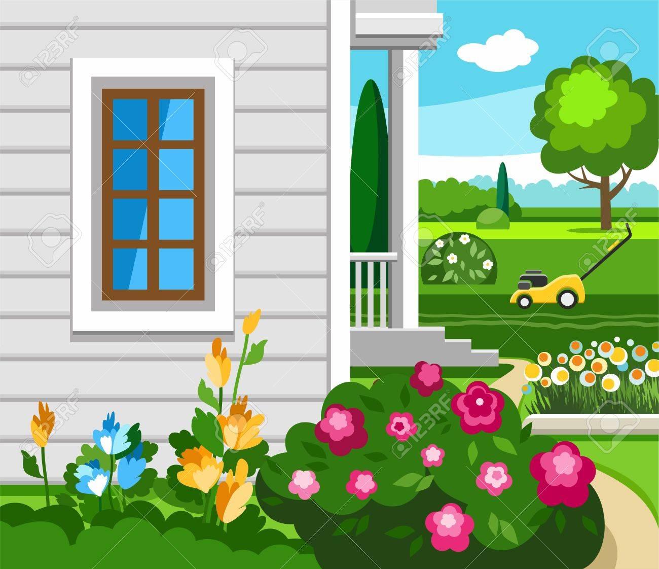 Las flores en el jardín cerca de la casa, ilustración en color. Cerca de  las flores de la casa de campo crecen. En la hierba cortada es amarillo el  ...