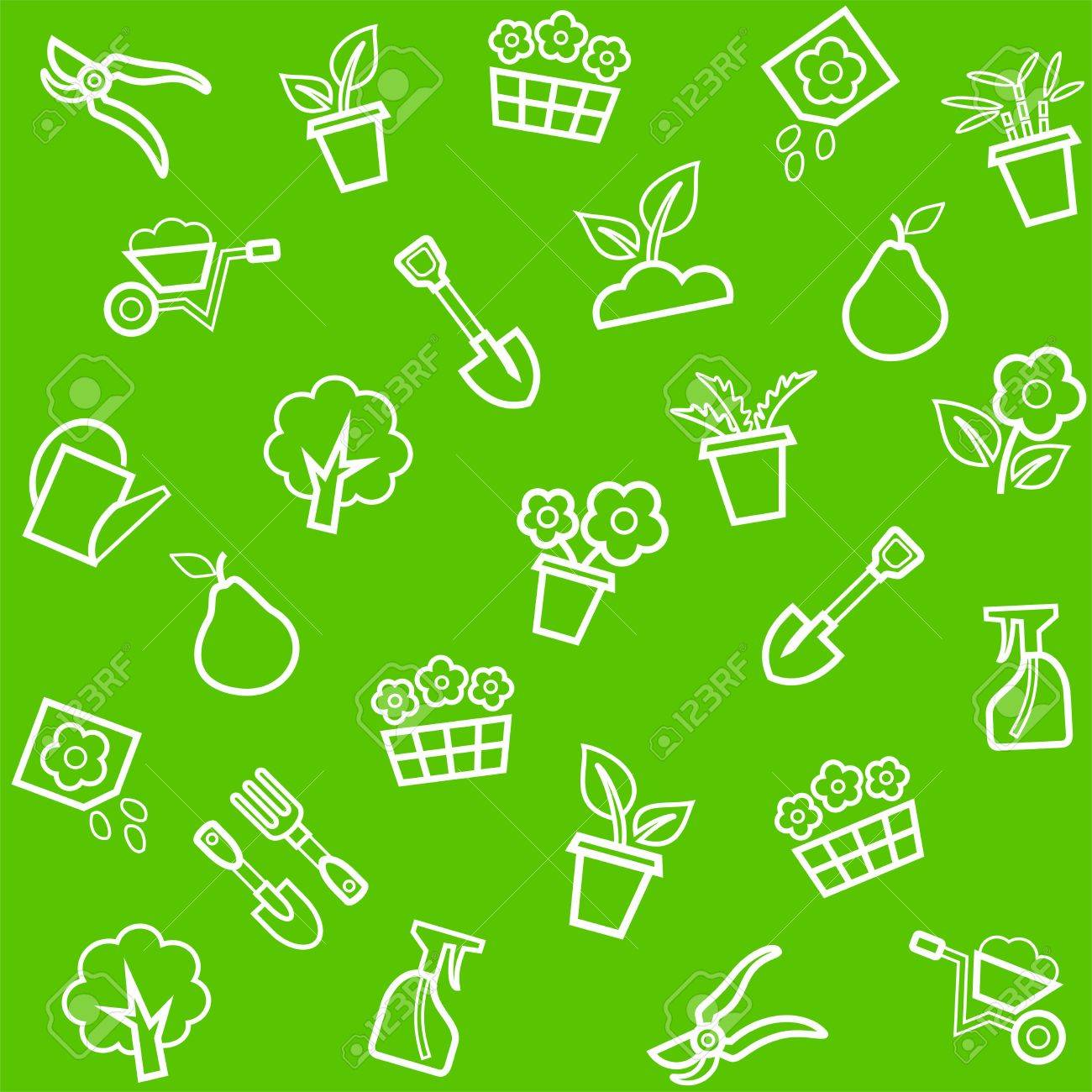 Background, horticulture, floriculture, seamless, green. Vector, seamless, green background with white linear icons flowers, seedlings and tools for the garden. - 68215696