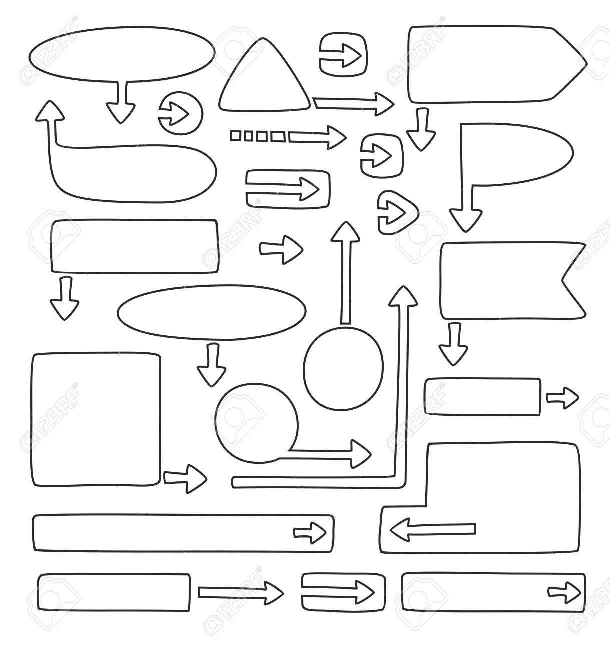 Frames Und Pfeile Für Infografiken, Schwarz, Linear, Weißer ...