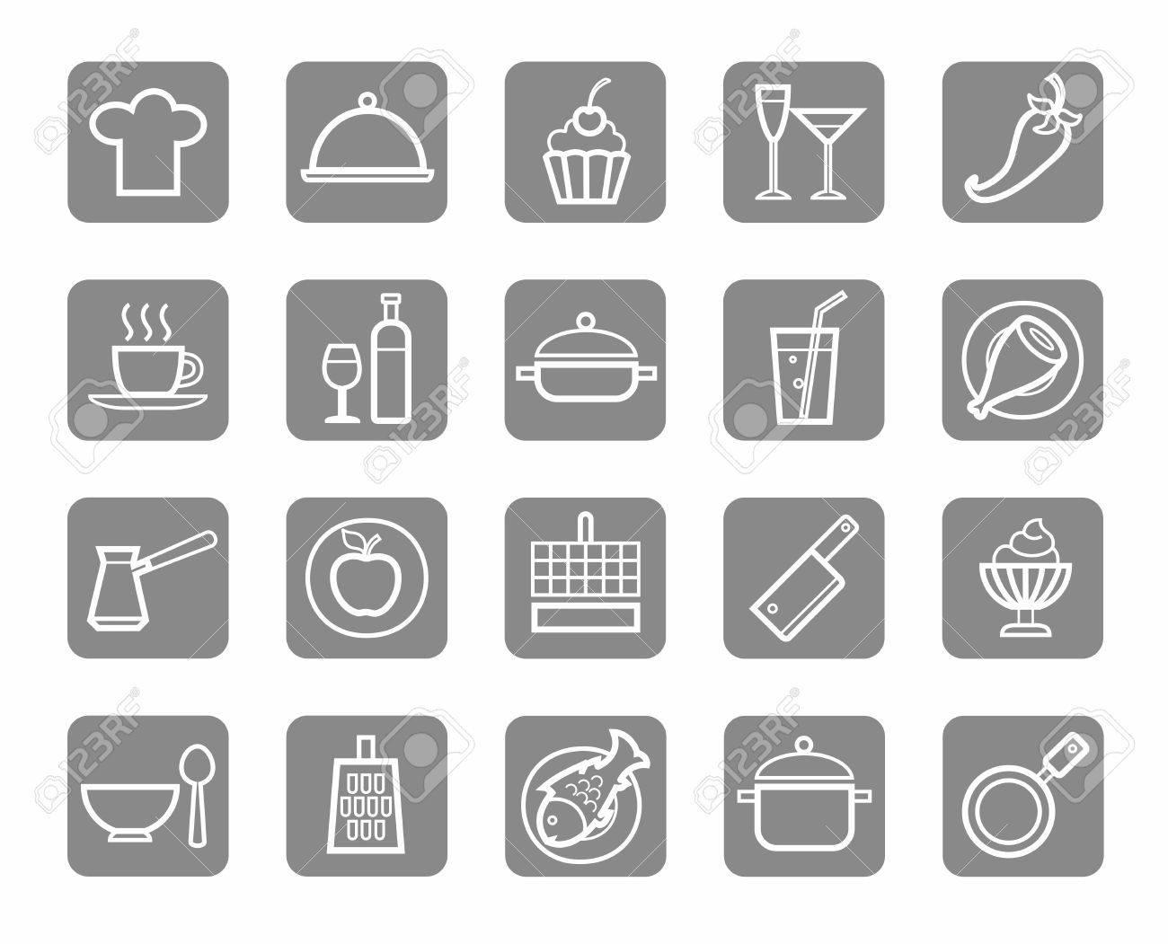 Icons, Küche, Essen, Trinken, Restaurant, Weiße Kontur, Grauen ...