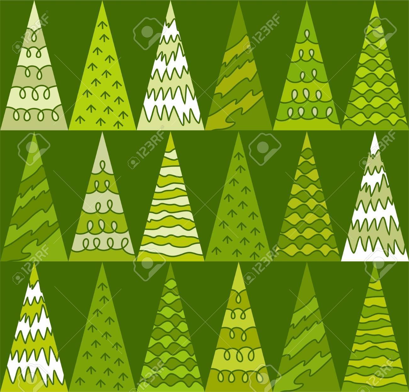 Vettoriale Abete Rosso Alberi Verde Natale Triangoli