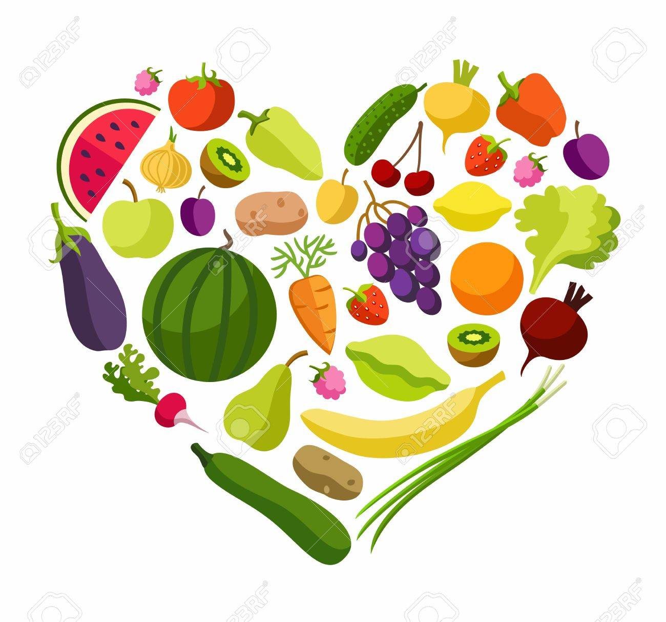Fruits Vegetables Heart Coloured Illustrations Fruits And