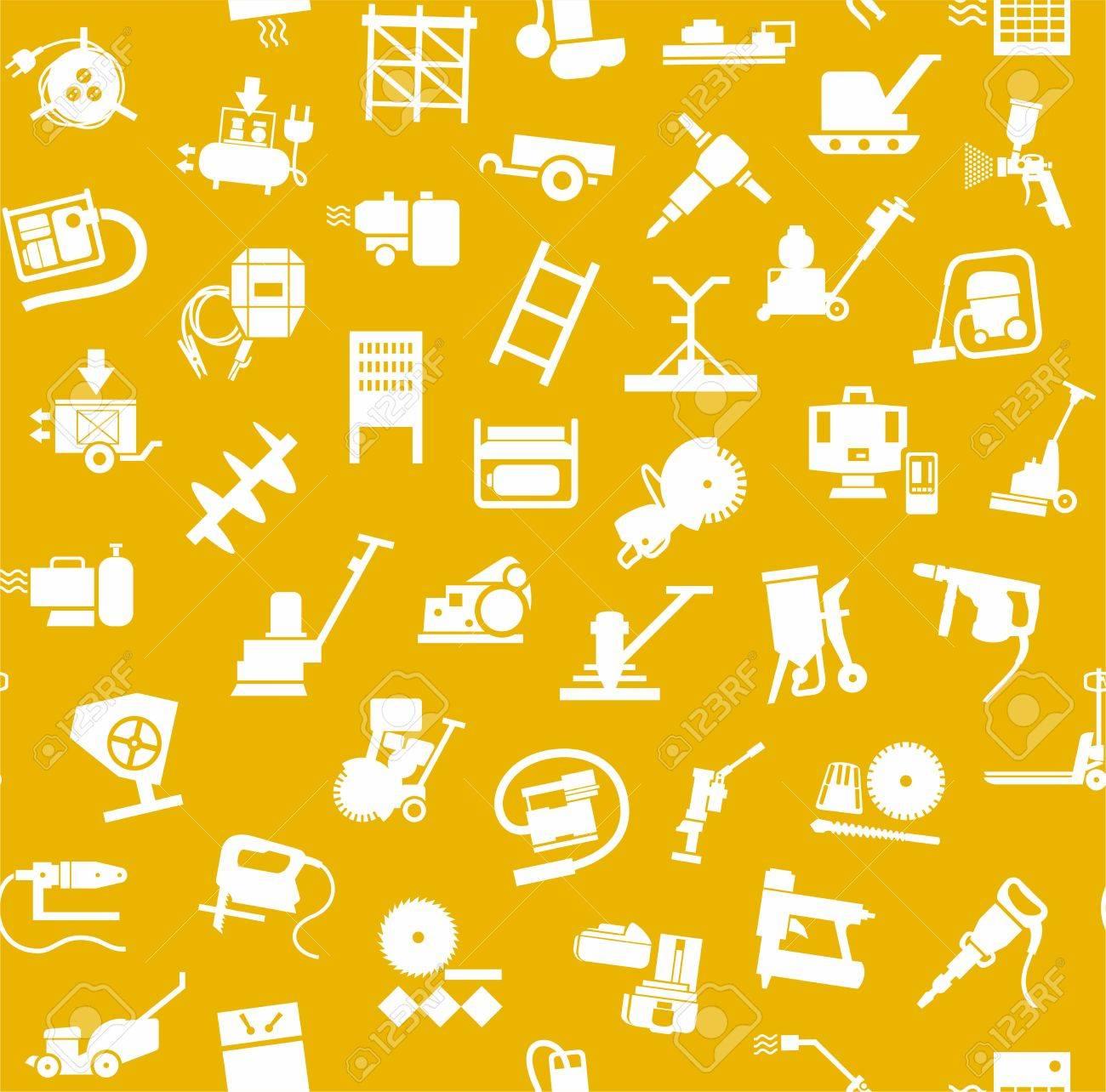Construcción Y Herramientas, Patrón Transparente, De Color Amarillo ...