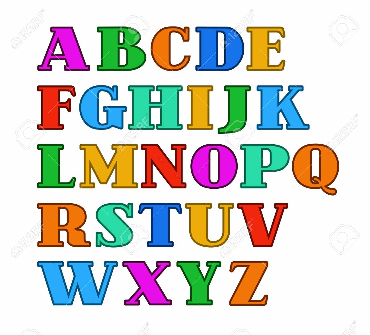 English Alphabet Capital Letters Colored With A Thin Outline Vector Serif Font