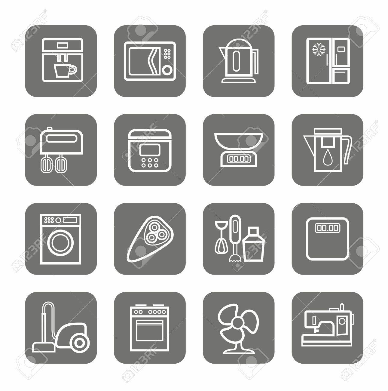 Household Appliances, Icons, Monochrome, Linear. Vector Line ...