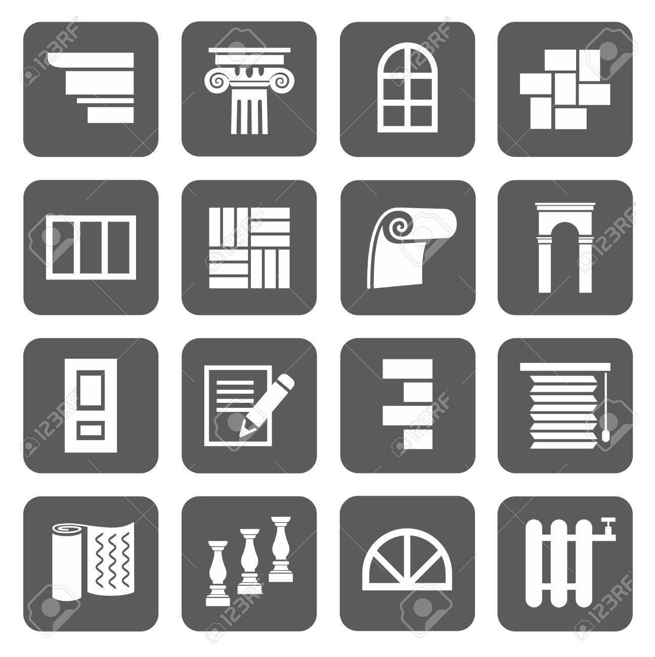 The icons are flat construction finishing materials repair the icons are flat construction finishing materials repair monochrome icons with symbols of buycottarizona Choice Image