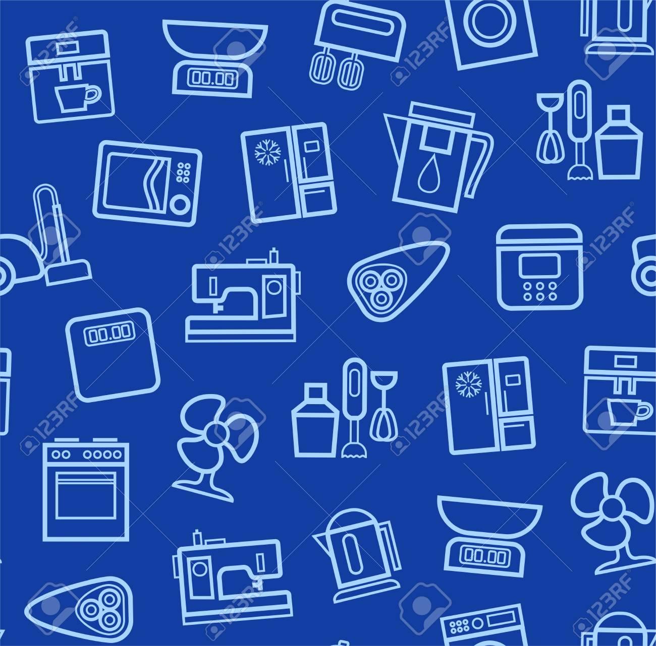 Geräte, Hintergrund, Nahtlose, Blau. Vector Hellblau Kontur Icons Technik  Für Haus Und
