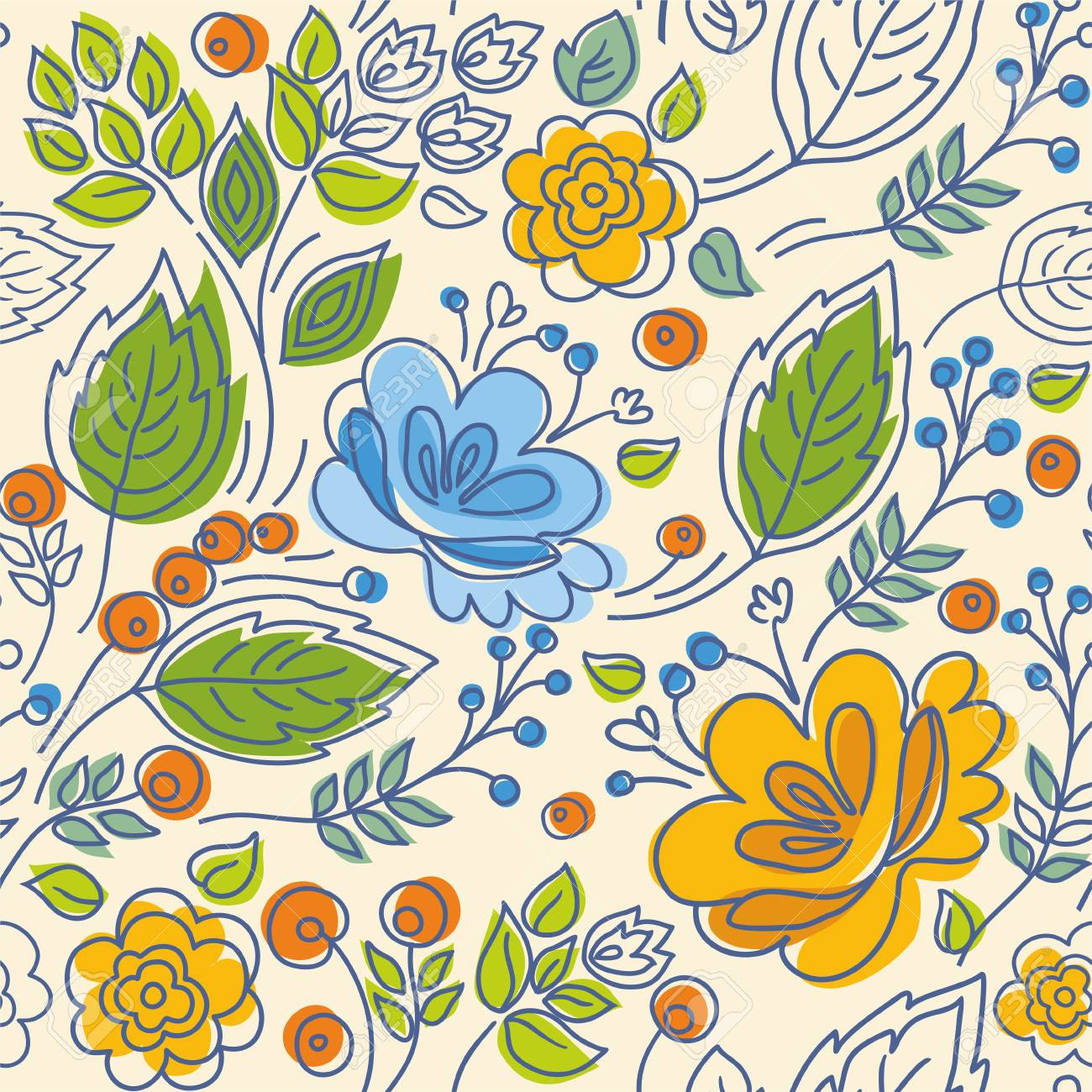 Seamless Pattern Contour Yellow Blue Flowers Green Leaves