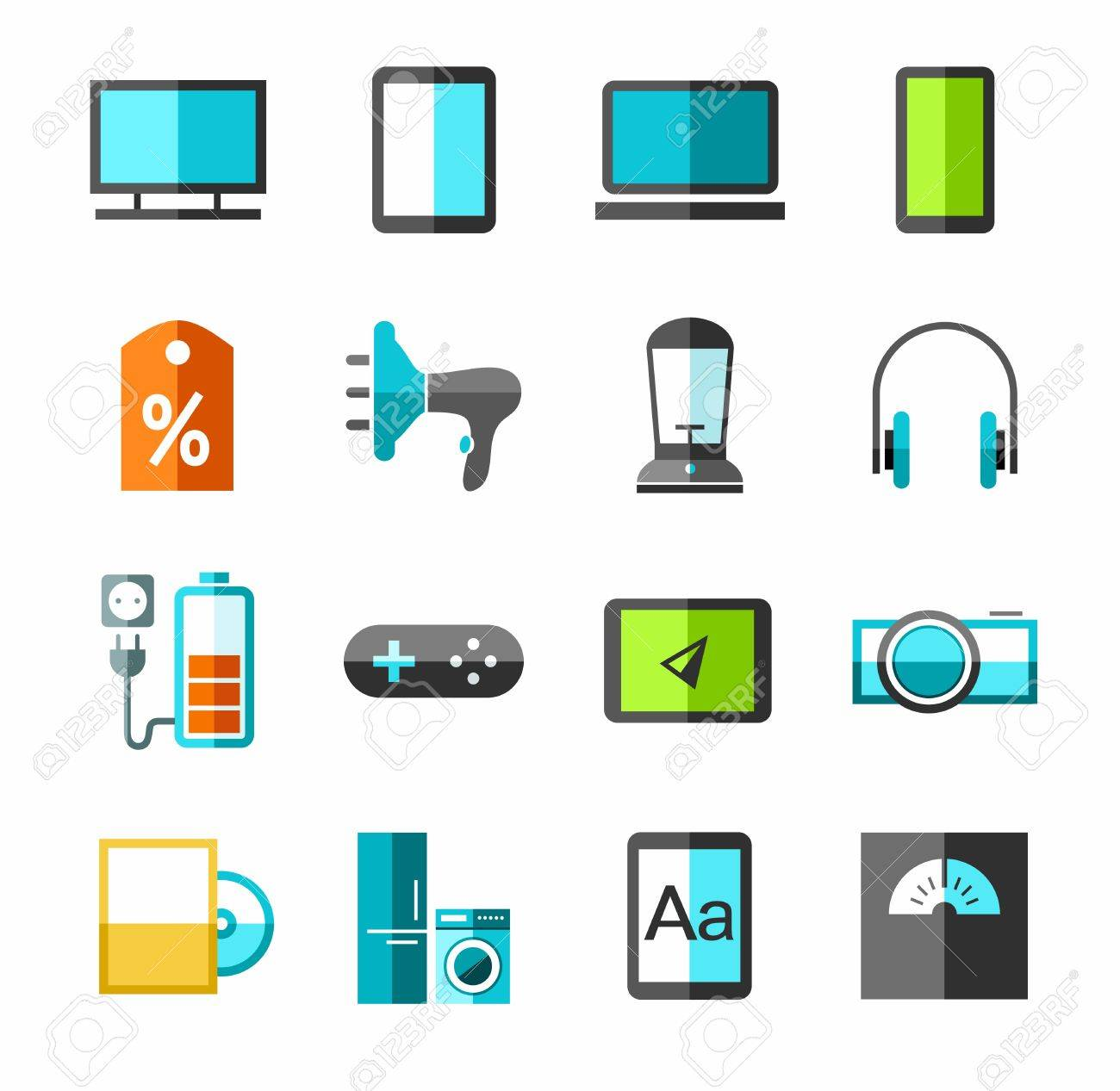Electronics Gadgets And Appliances Color Icons Vector Icons