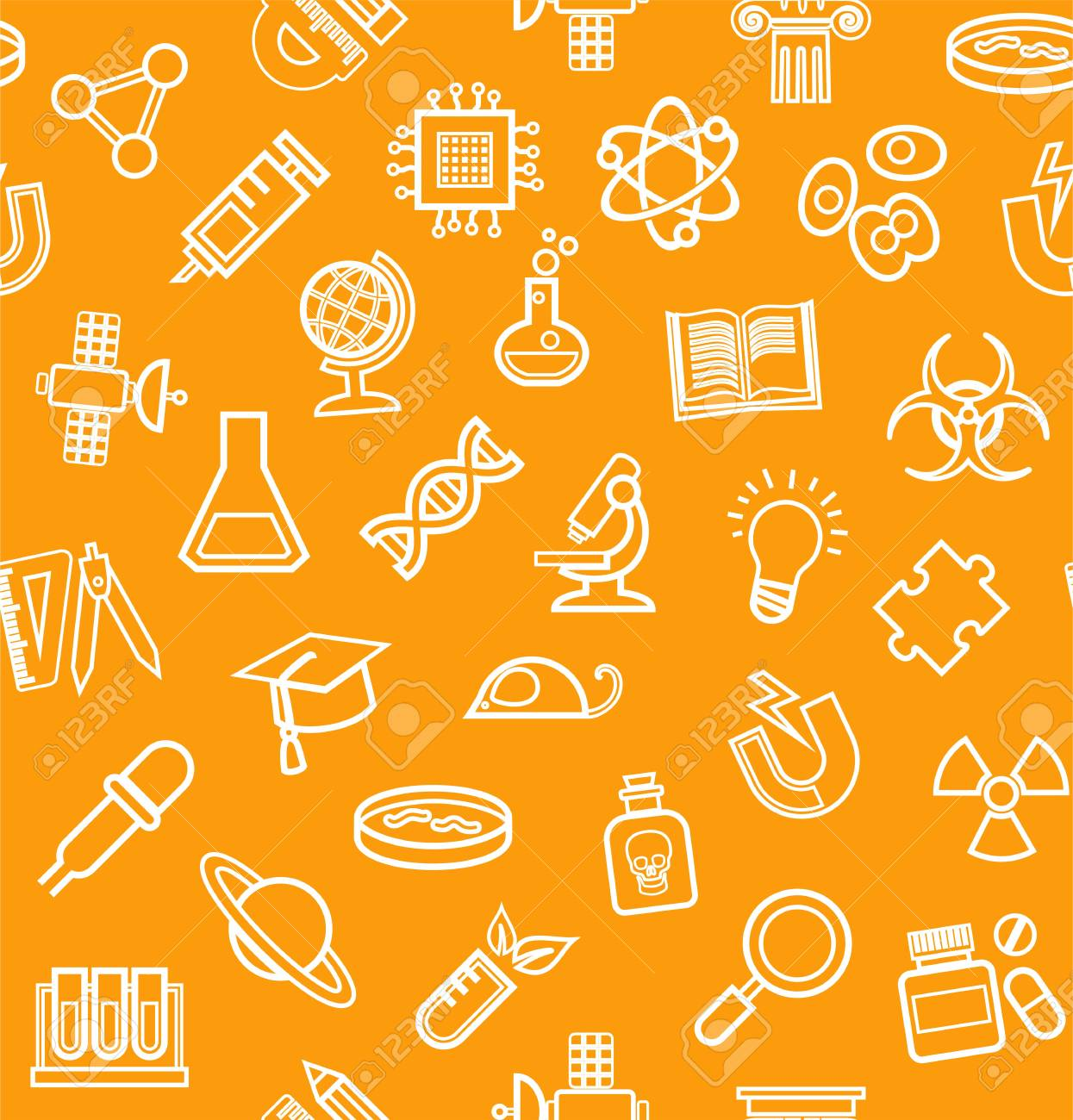 Science, orange background, outline icons, monochrome, seamless,