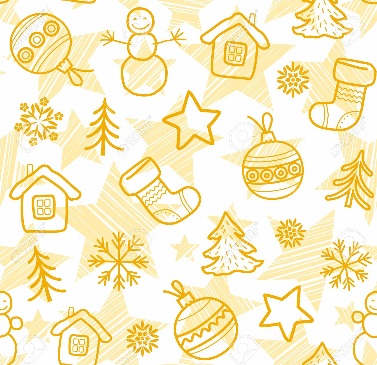 christmas white background yellow outline drawings seamless
