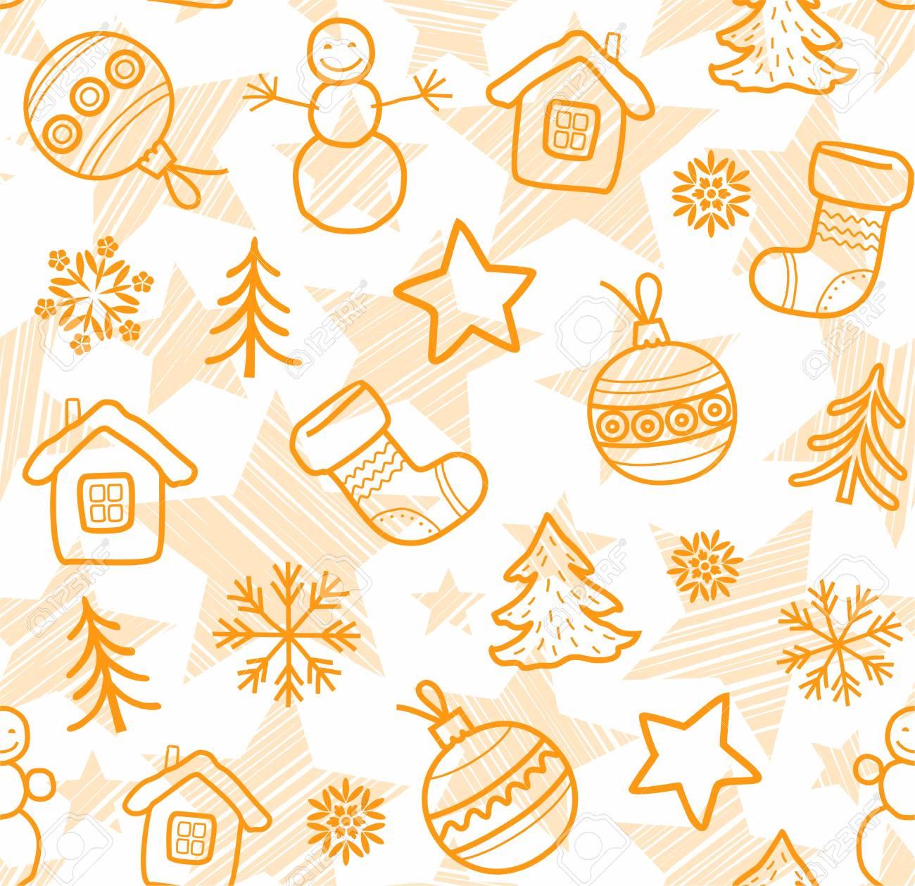 Disegni Di Natale Vettoriali.Decorazioni Di Natale Nei Disegni Di Contorno Arancione Senza Soluzione Di Continuita Vettore Palle Di Natale Stivali Stelle E Pupazzi Di Neve