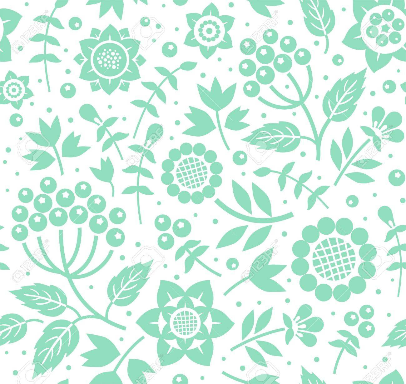 Berries And Twigs Decorative Background Seamless Mint White