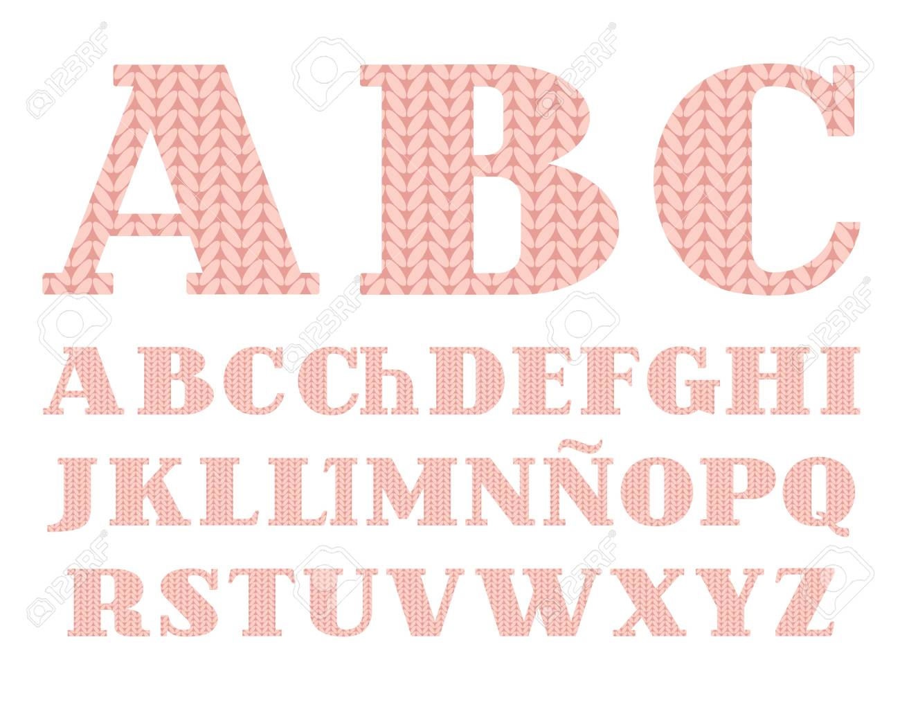 Knitted Font, Spanish Alphabet, Vector, Pink. Uppercase Letters ...