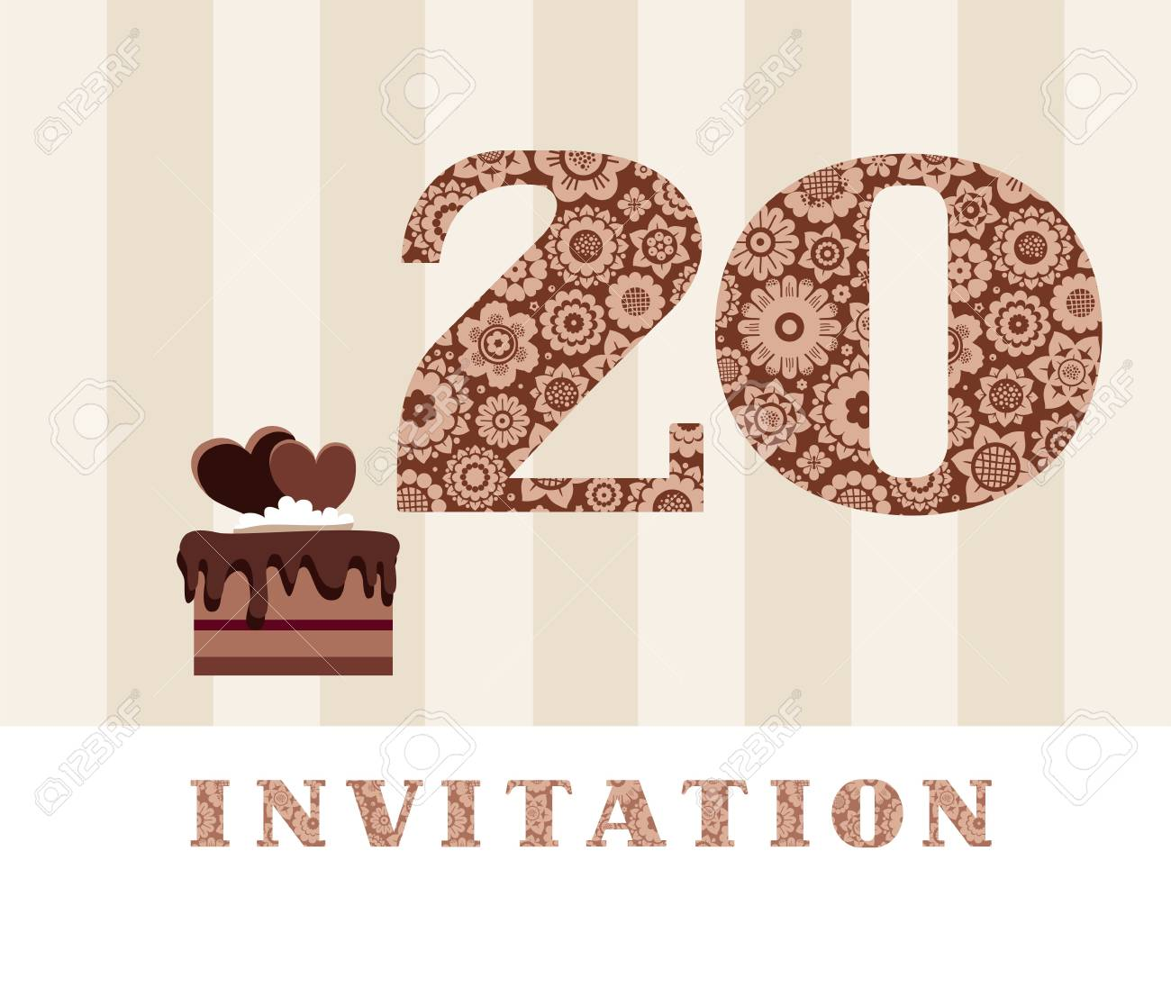 Invitation Card 20 Years Old With Chocolate Cake Heart The To