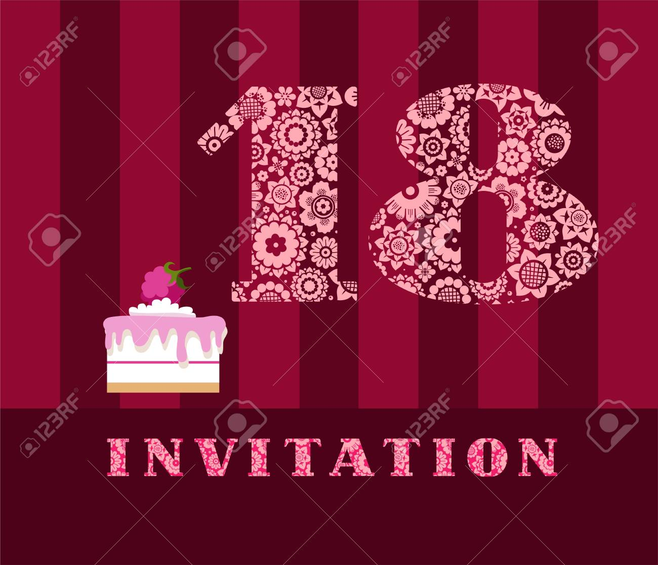 Invitation 18 Years Old Cake Color Vector The To