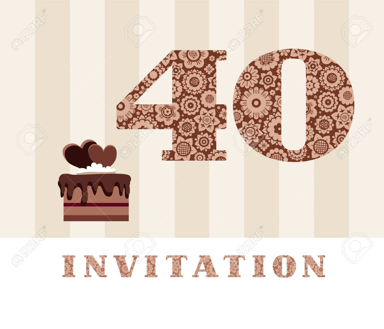 Invitation 40 Years Old Chocolate Cake Heart Vector The To