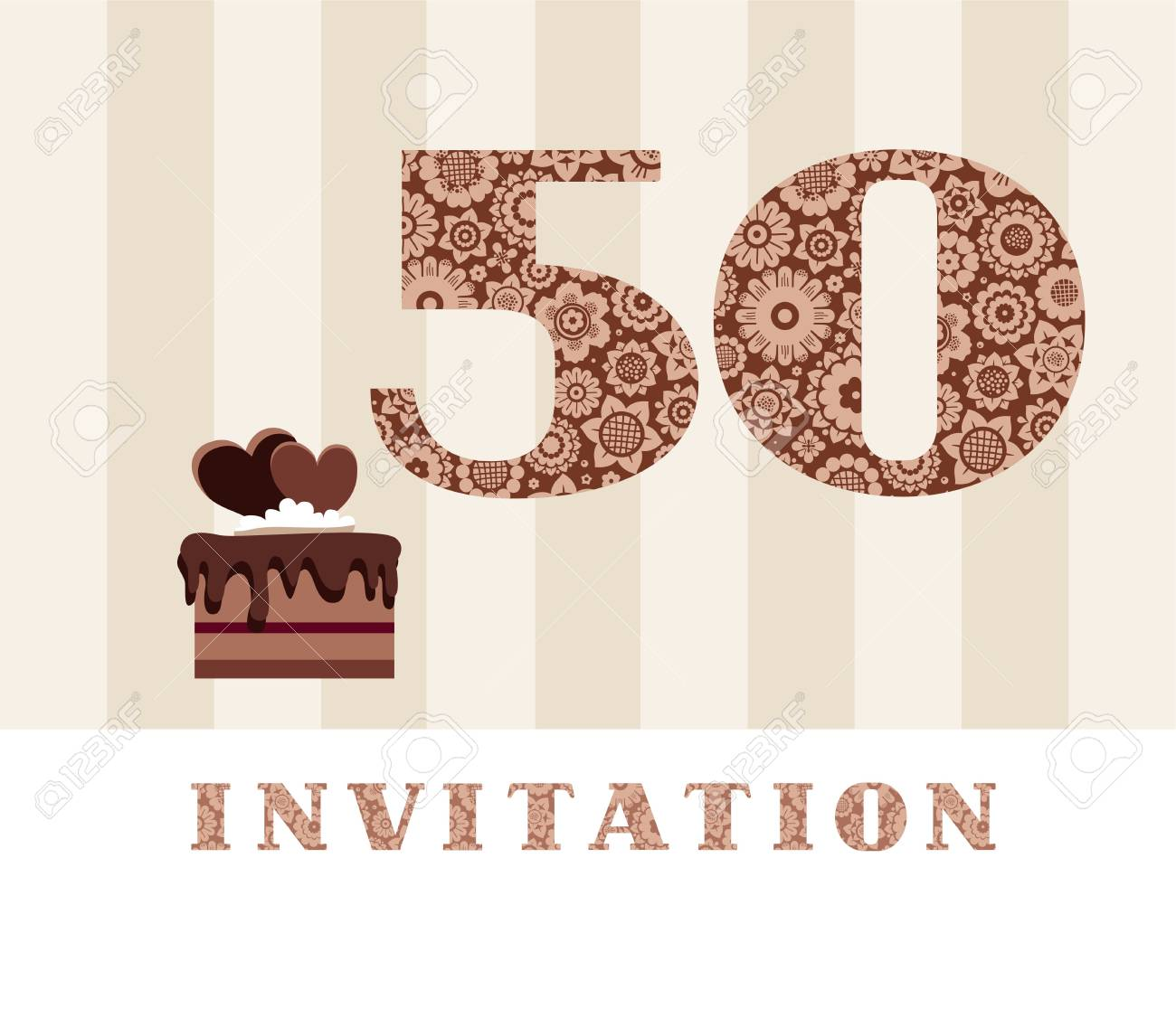 Invitation 50 Years Old Chocolate Cake Heart Vector The To