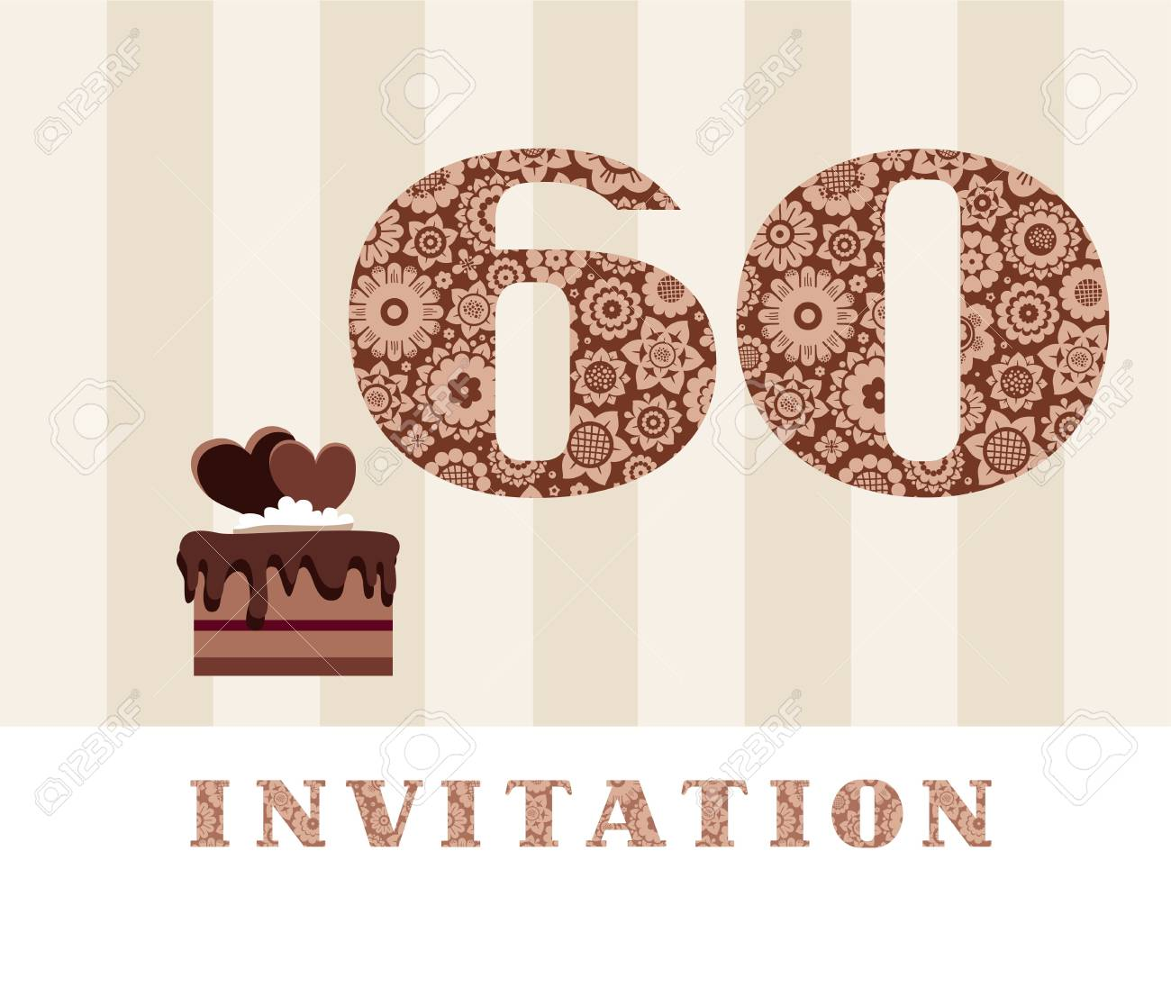 Invitation 60 Years Old Chocolate Cake Heart Vector The To