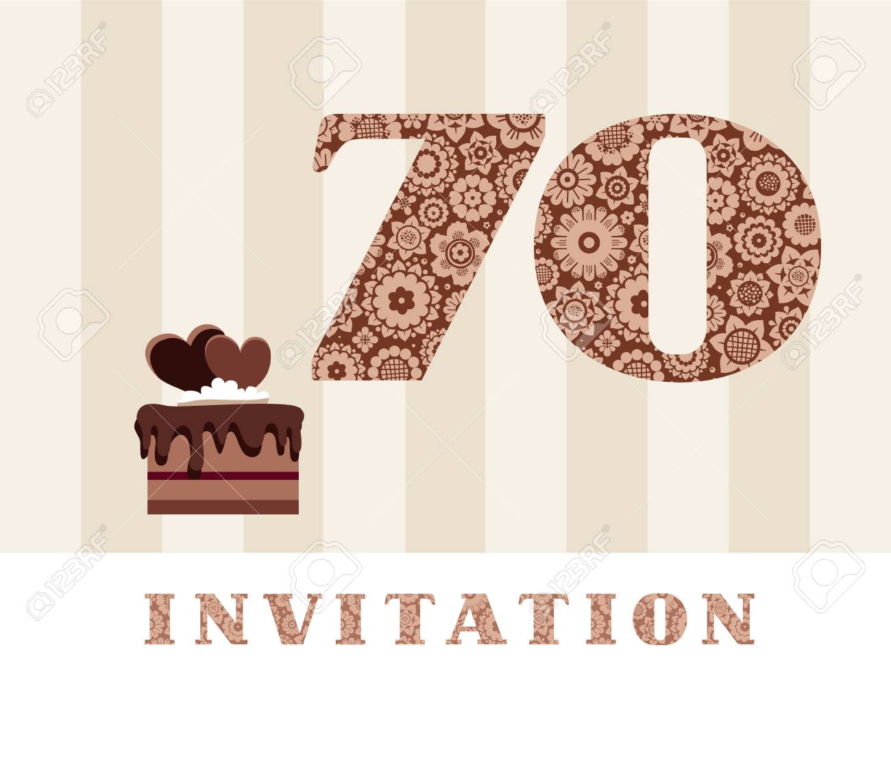 Invitation 70 Years Old Chocolate Cake Heart Vector The To