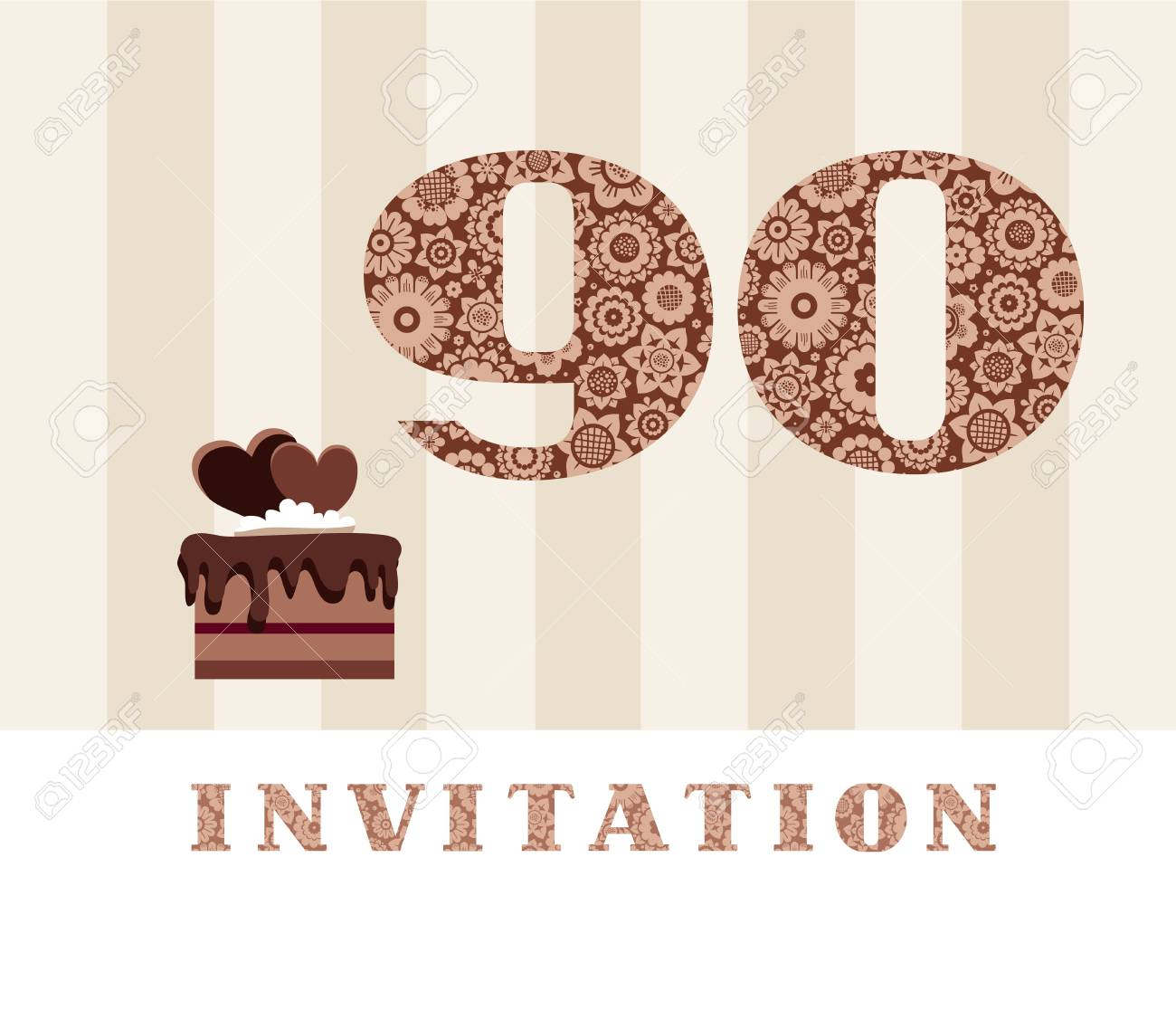 The Invitation To 90th Birthday Party With Chocolate Cake Hearts Stock Vector