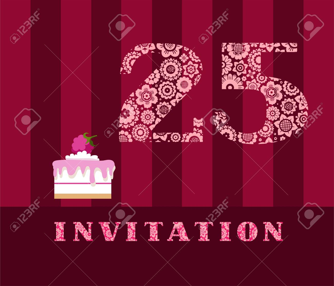 Invitation 25 Years Old Raspberry Pie Vector English The