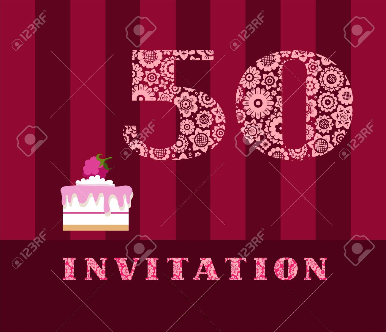 Invitation 50 Years Old Raspberry Pie Vector English The To