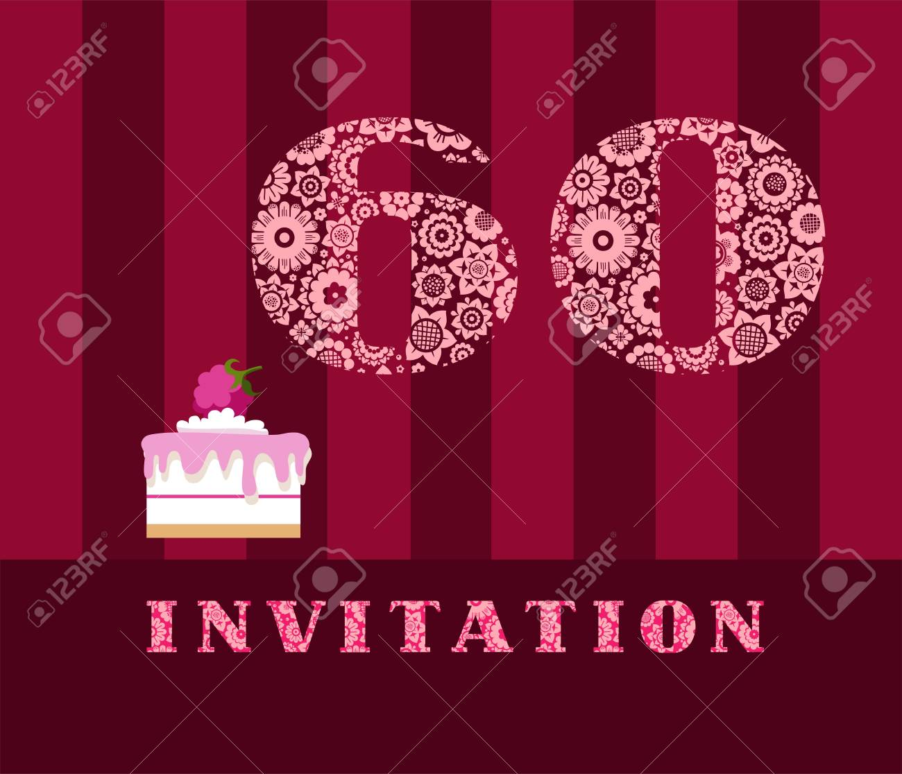 Invitation 60 Years Old Raspberry Pie Vector English The To