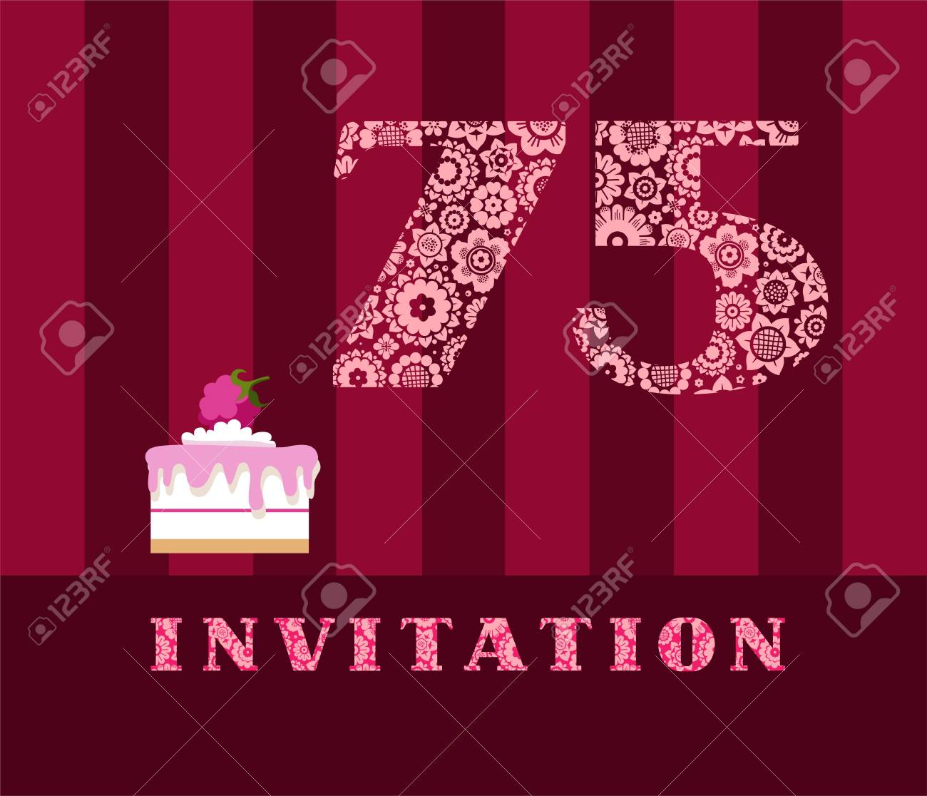 Invitation, 75 Years Old, Raspberry Pie, Vector, English. The ...
