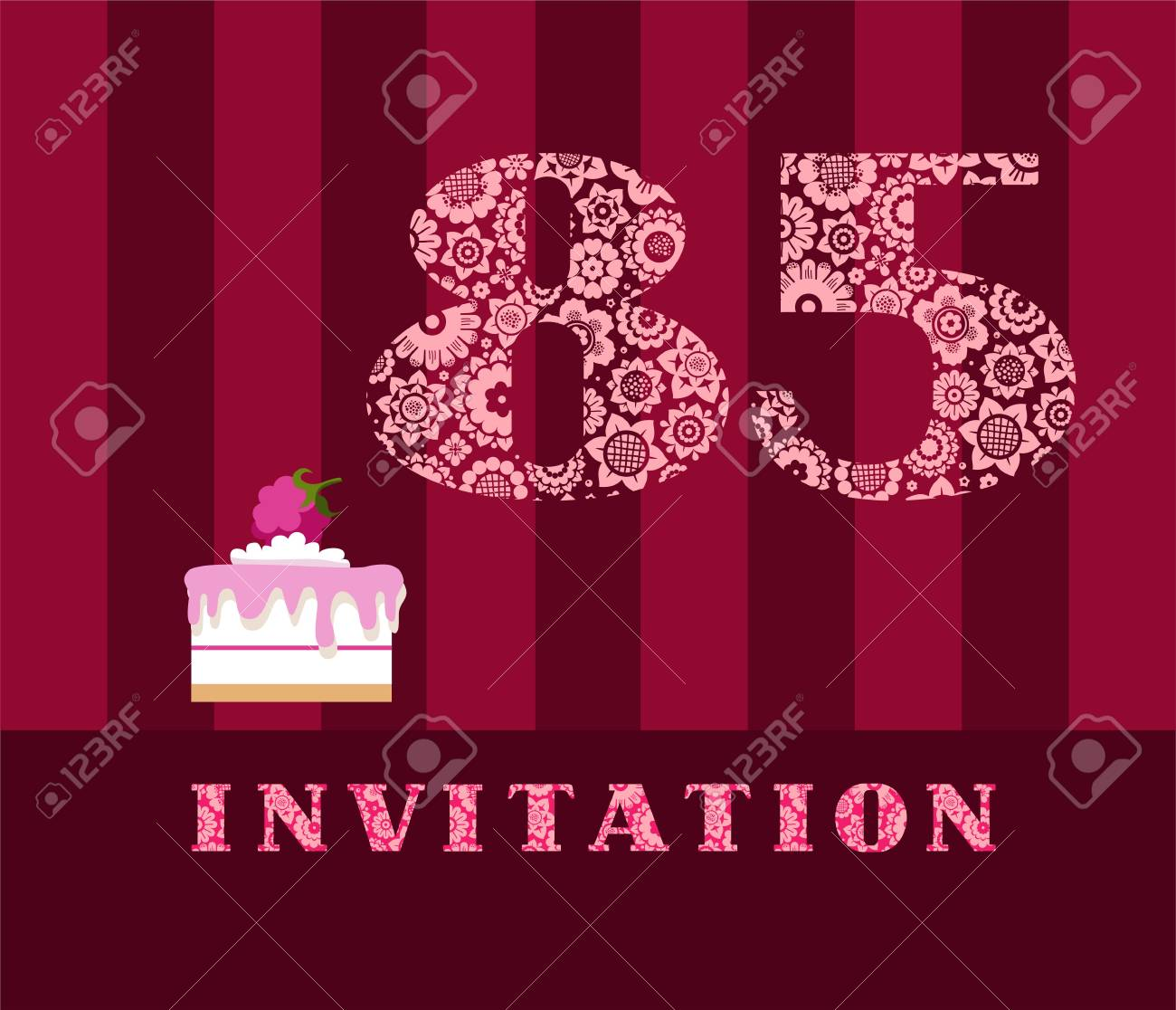Party Invitation Design For 85th Birthday With Raspberry Cake Stock Vector