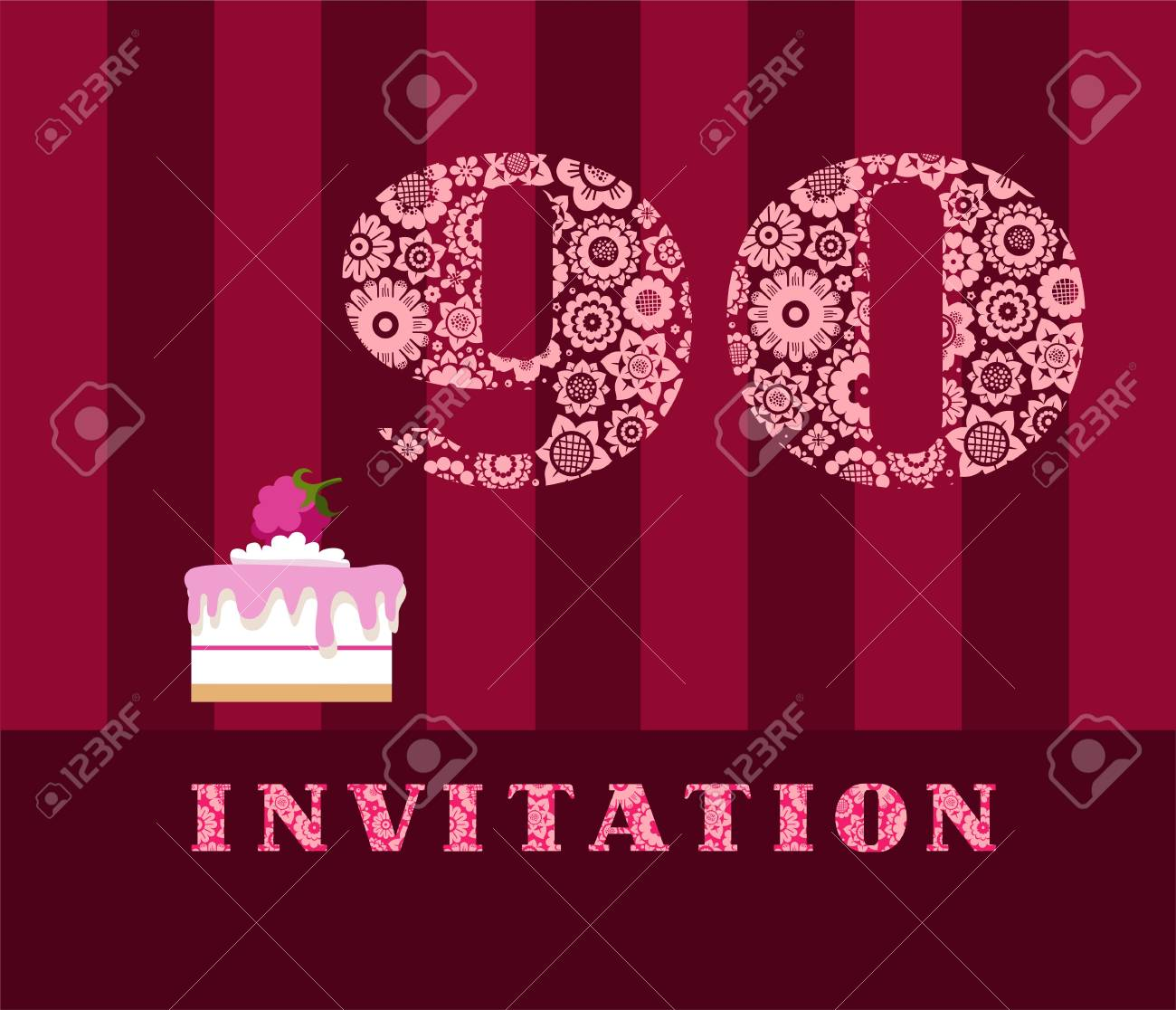 Invitation 90 Years Old Raspberry Pie Vector English The To