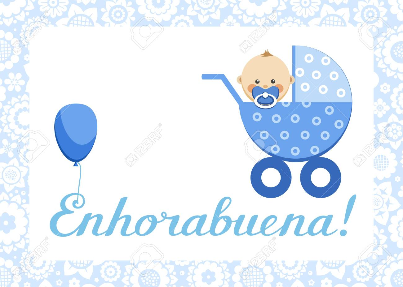 congratulations newborn boy postcard spanish vector in the blue stroller sits